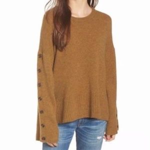 Madewell Button Sleeve Pullover Sweater Wool